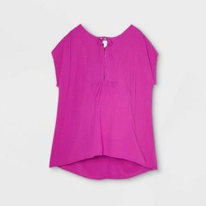 Cap Stove Button-Front With Tie Maternity Blouse
